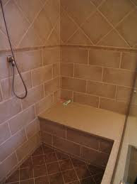 brown shower seat doubles as shelf